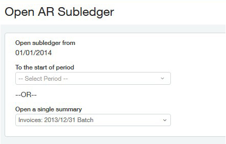 Sage Intacct Open AR Subledger